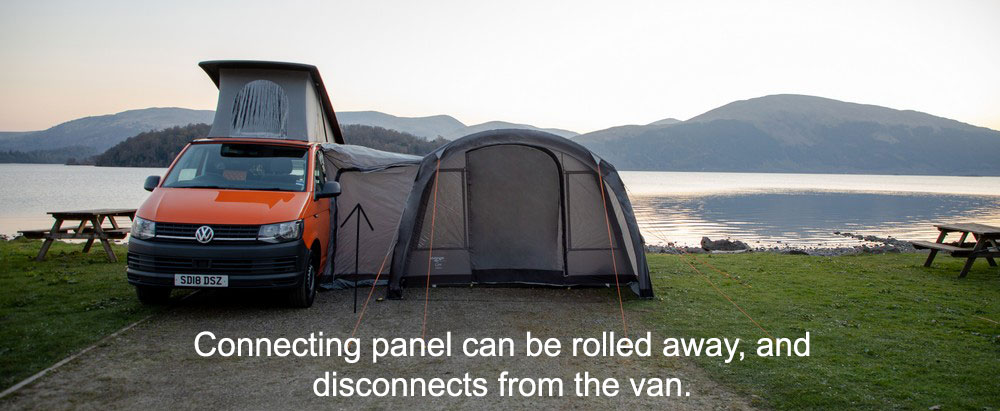 Awning attached to van via fixing kit.