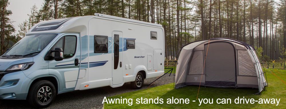 Awning detached from van